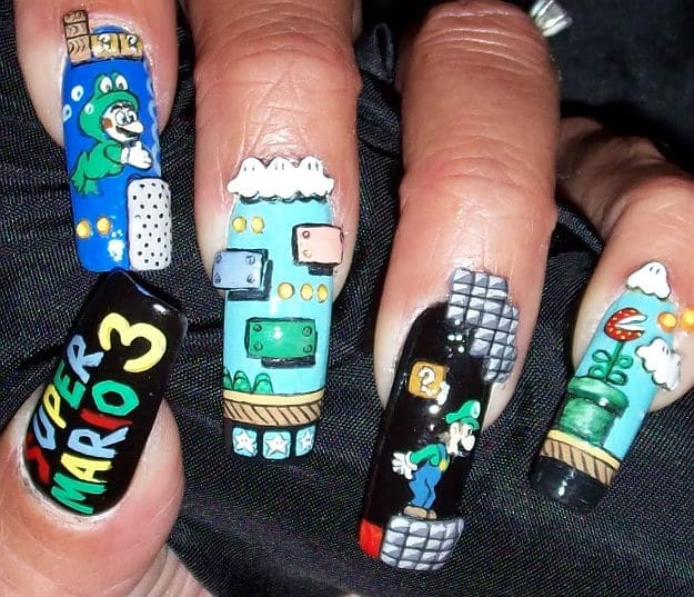 Super Mario Inspired Nail Art