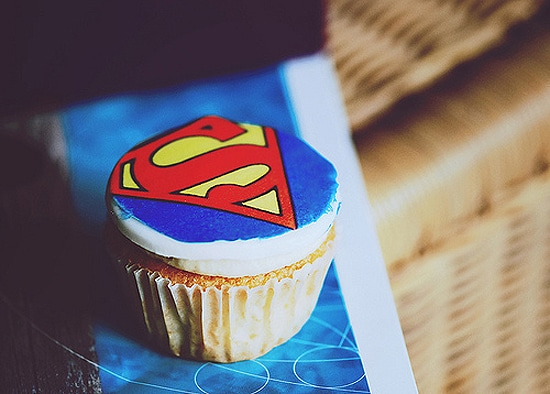 Colorful Superman Decorated Cupcake