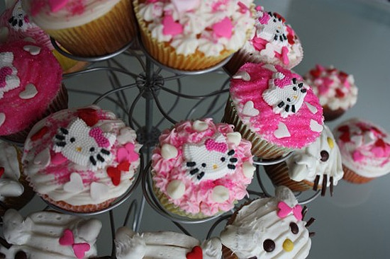 Hello Kitty Decorated Cupcakes