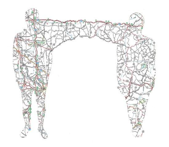 Discarded Map Cut Portrait Concept