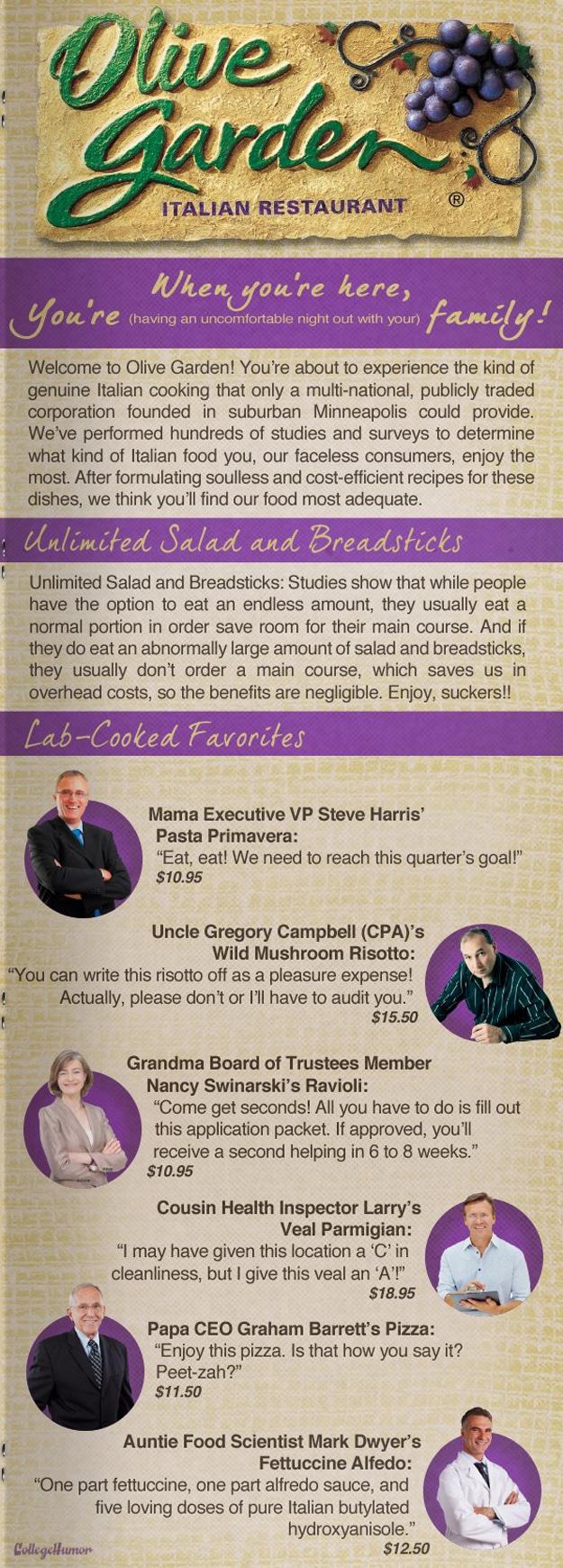 Olive Garden Honest Menu