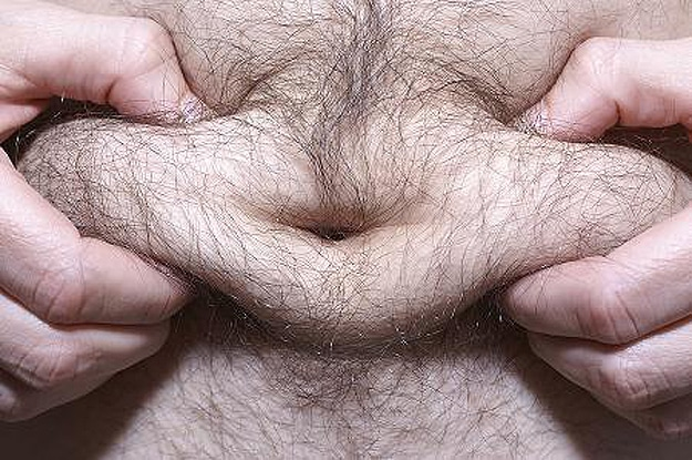 Man Squeezing Belly Fat