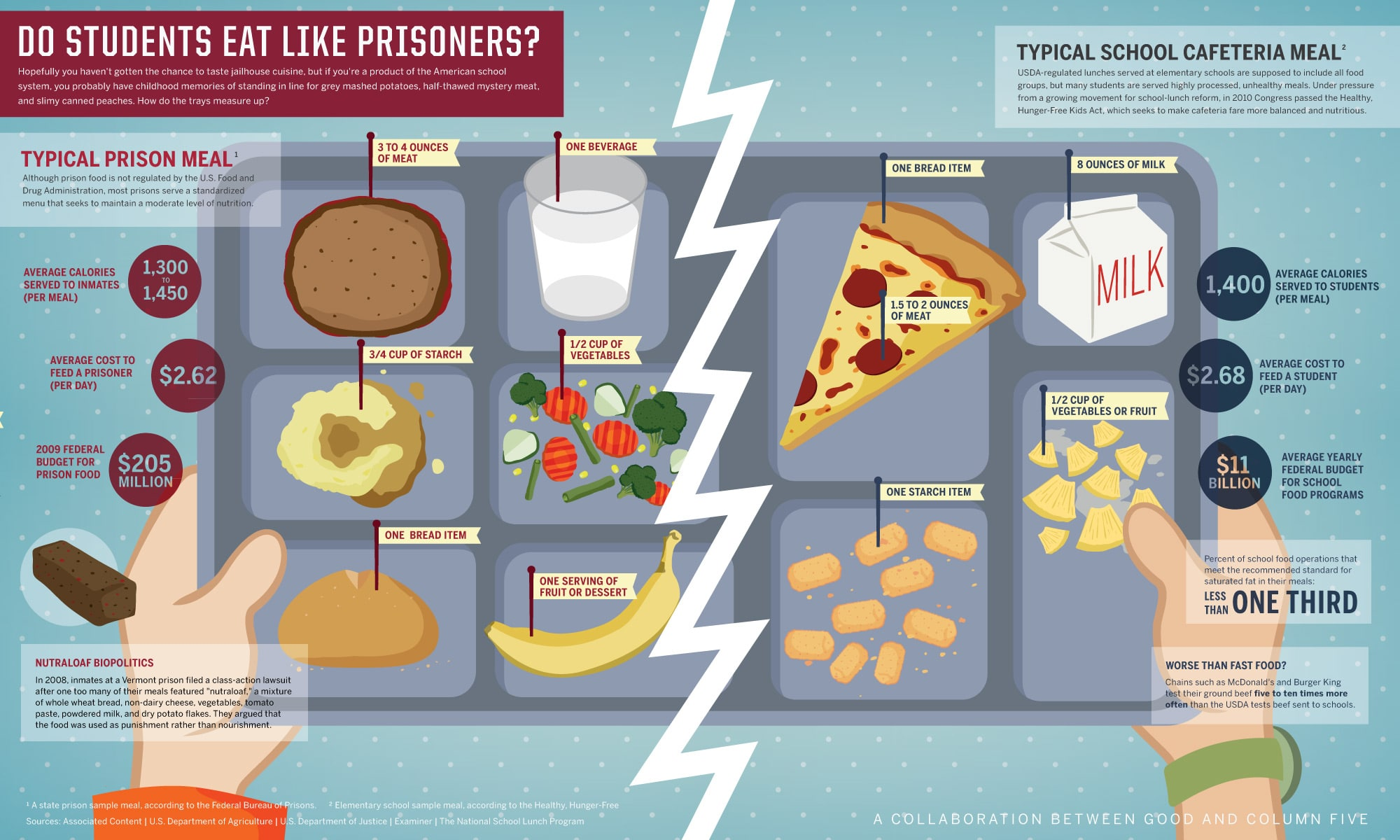 Prison vs School Food Infographic