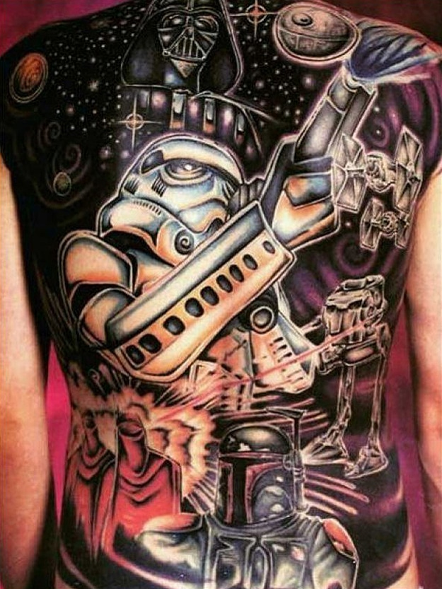Black Darth Vader Back Tattoo