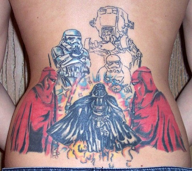 Darth Vader Stormtrooper Back Tattoo