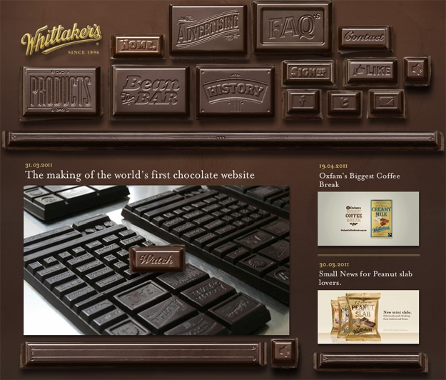 Whittaker's Website Made From Chocolate
