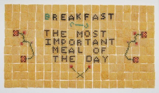 Unusual Art: Embroidered Chex Cereal Pieces