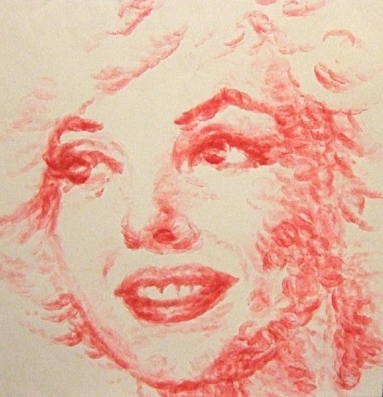 Lip Painter: Marilyn Monroe Portrait Painted Using Lips