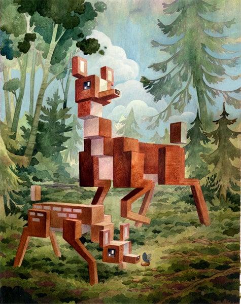 Pixel World Wild Life Paintings