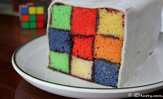 A Colorful Rubik's Cube Birthday Cake For Geeks