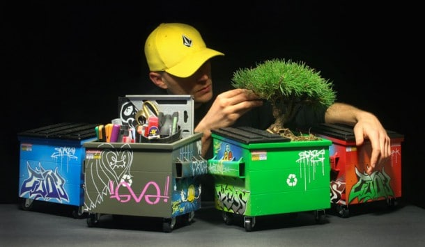 SteelPlant Graffiti Flower Dumpster Pots