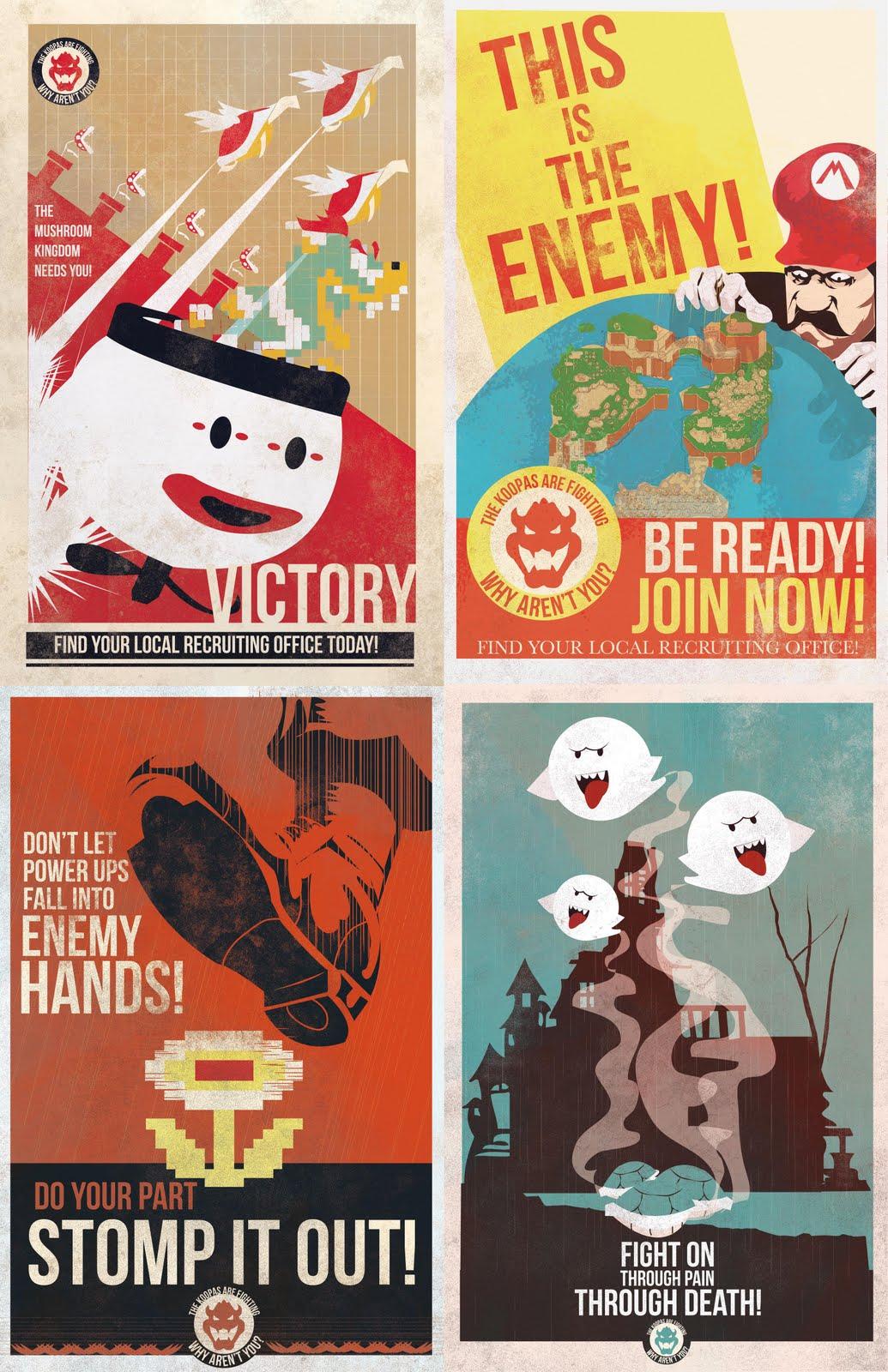 King Koopa's Super Mario Propaganda Posters