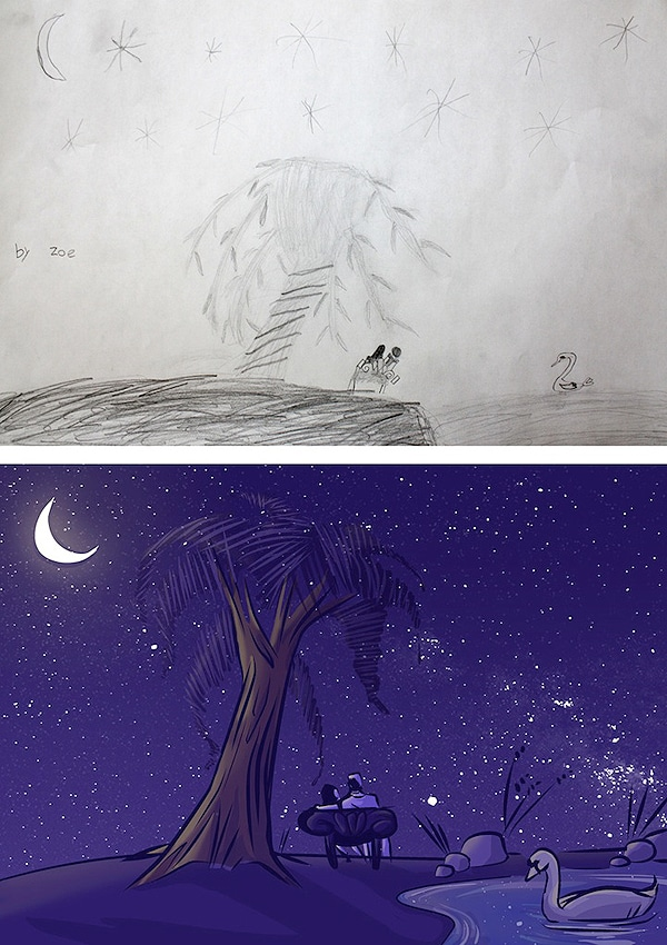 Kids Sketches Redesigned By Artists