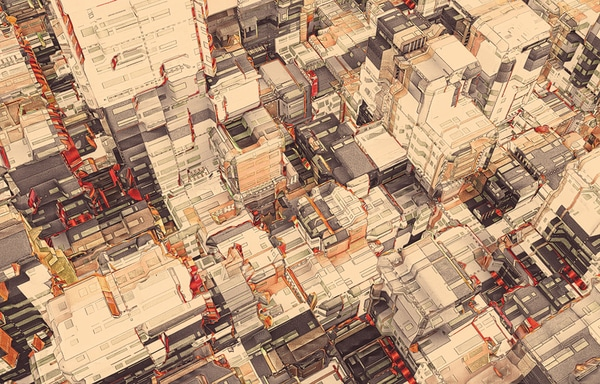 Epic Scale City Illustration Drawings