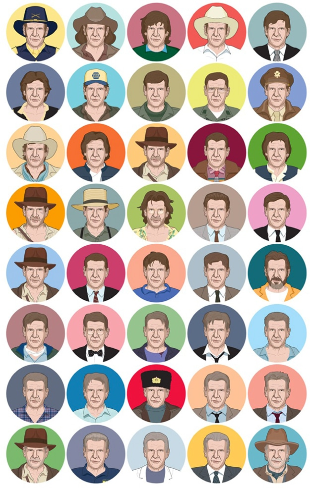40 Harrison Ford Faces Illustrated