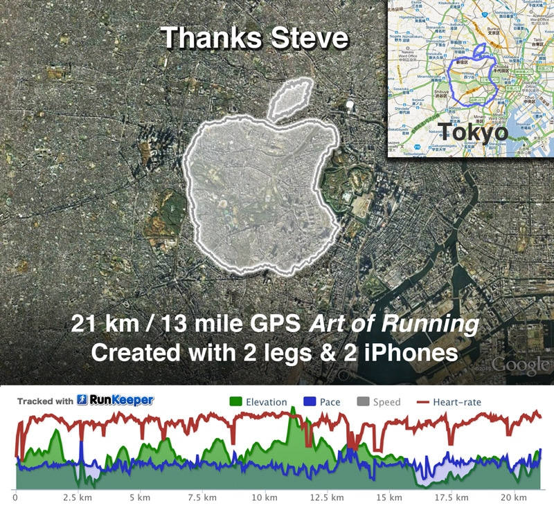 Guy Creates The Apple Logo By Running With A GPS In Tokyo