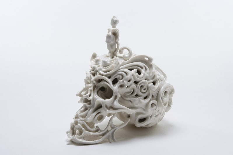 Intricate Porcelain Skull Sculpture Design