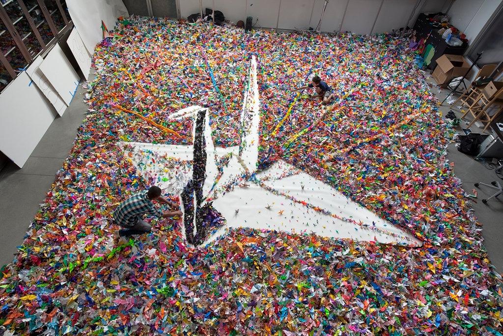 Mega Crane Made Out Of 2 Million Origami Cranes