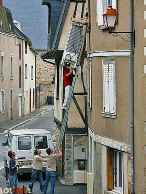 Dangerous Climbing On Ladder