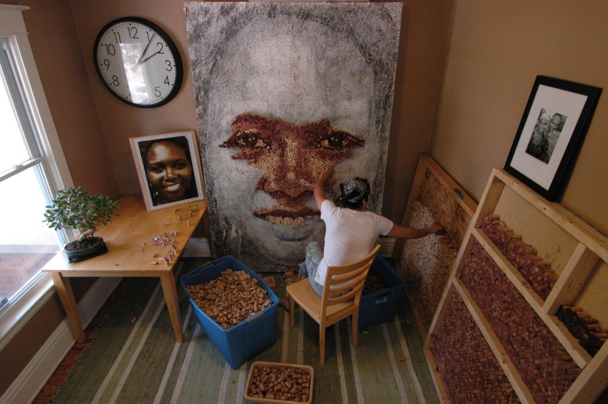 Realistic Portraits Created Using Cork