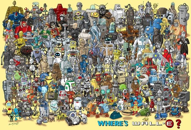 Where's WALL-E: A Geek Robot Mashup With Where's Waldo