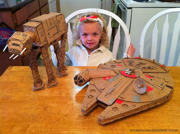 Cardboard Star Wars: Homemade AT-AT & Millennium Falcon