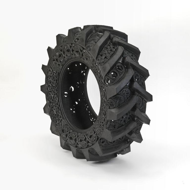 Intricate Tire Carvings Artwork Design