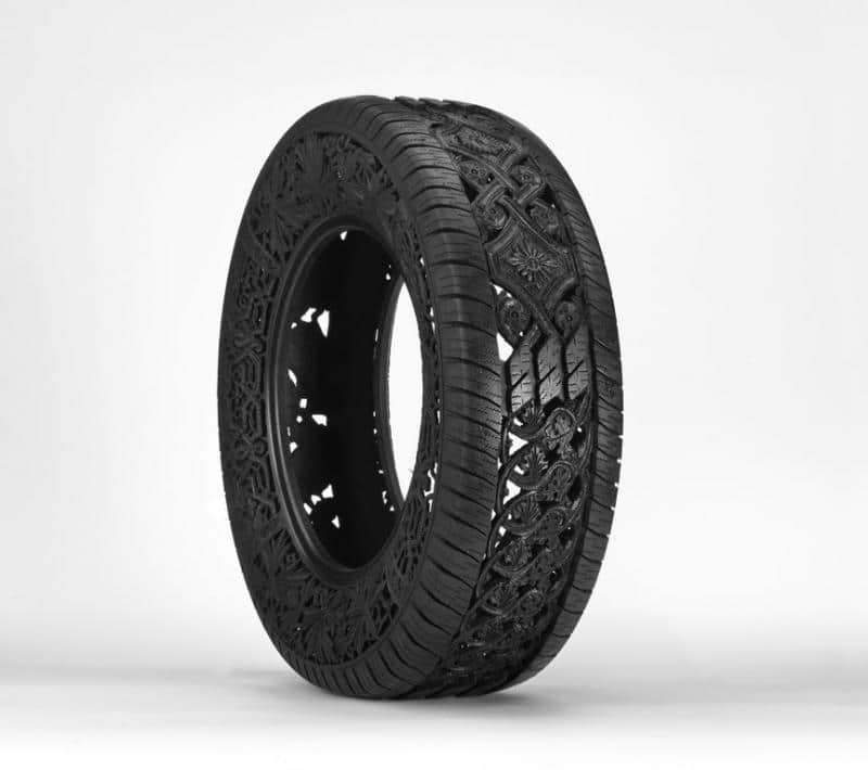 Intricate Tire Carvings Artwork Design