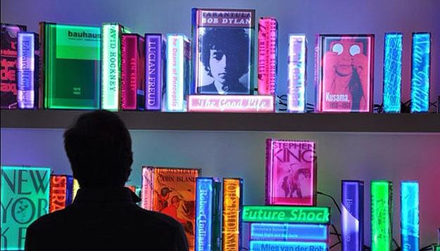 A Futuristic Digital Library Created With Colorful LED Books