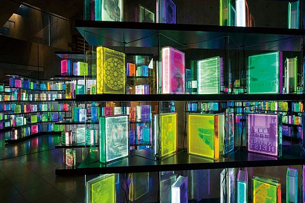 Art Installation With Colorful Books