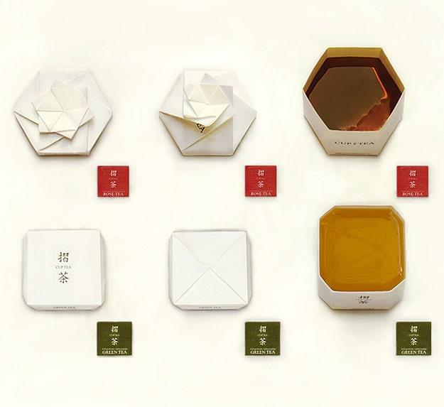 Inspiration: A Tea Bag Package Folds Into An Origami Cup