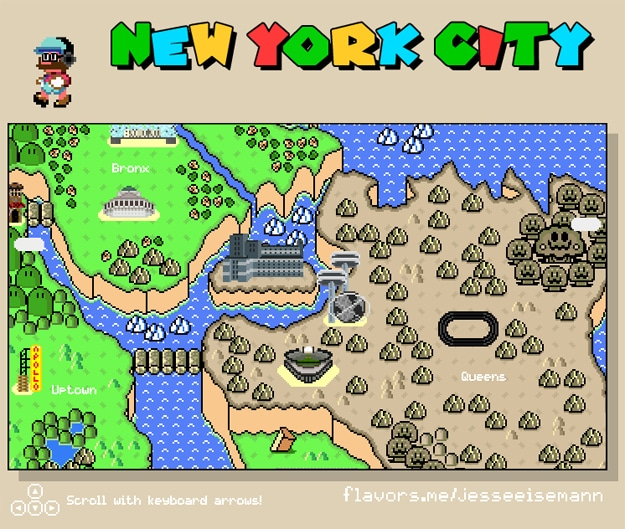 New York City Illustrated In 8-Bit Super Mario Style