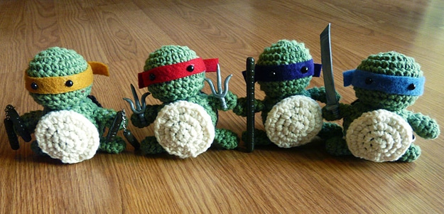 Crocheted Little Turtle Figures