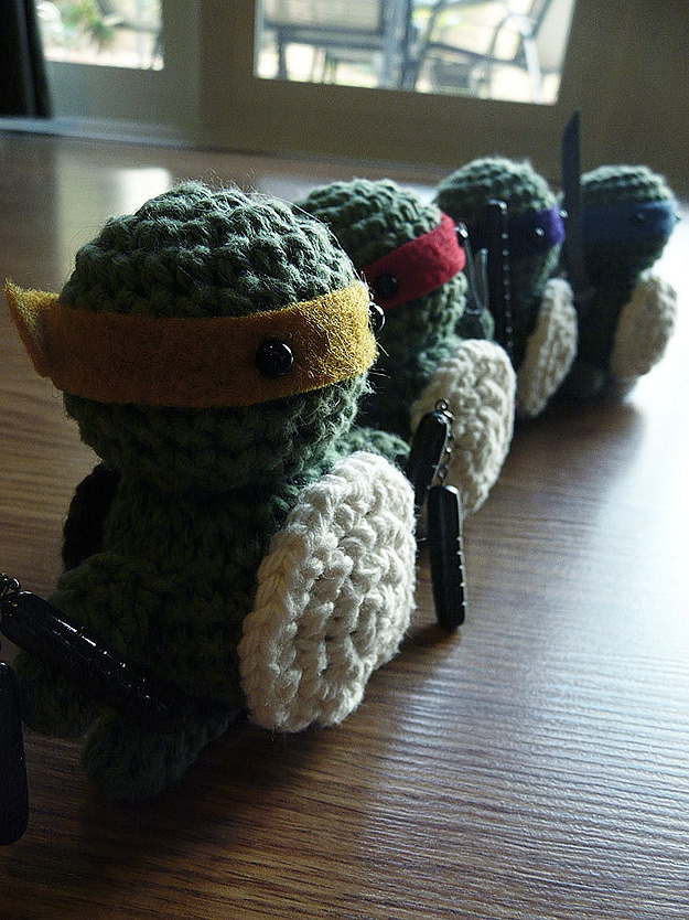 Crocheted Little Turtle Figures