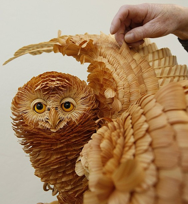 Realistic Owl Made From Wood