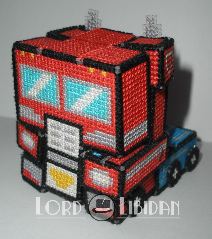 Cross Stitched Optimus Prime Transformer