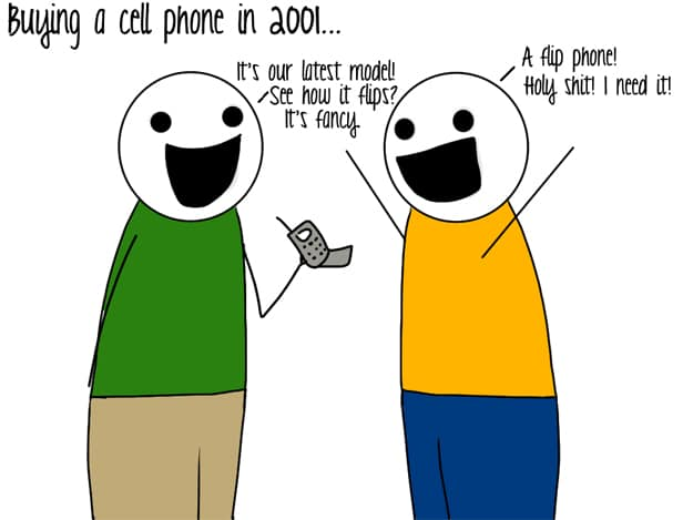 Cell Phones Then and Now