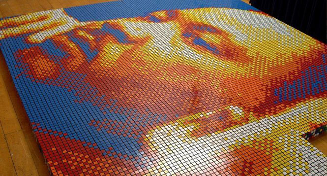 Martin Luther King, Jr. Portrait Made With 4,242 Rubik's Cubes!