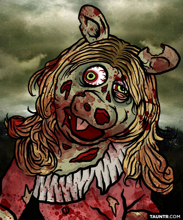 Miss Piggy Redesigned As Zombie