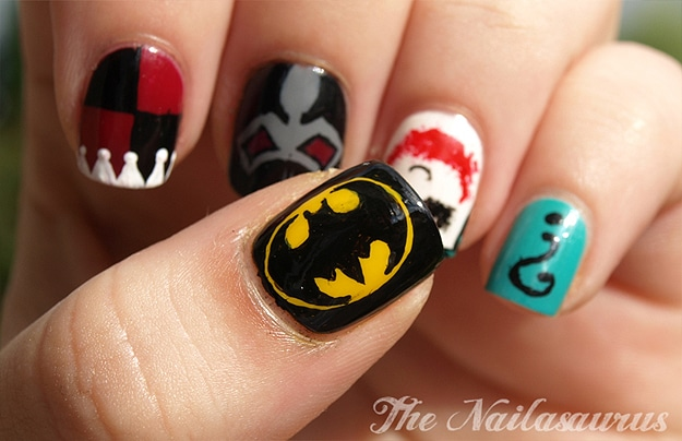 A Comic Book Manicure: Batman & Supervillain Nail Art