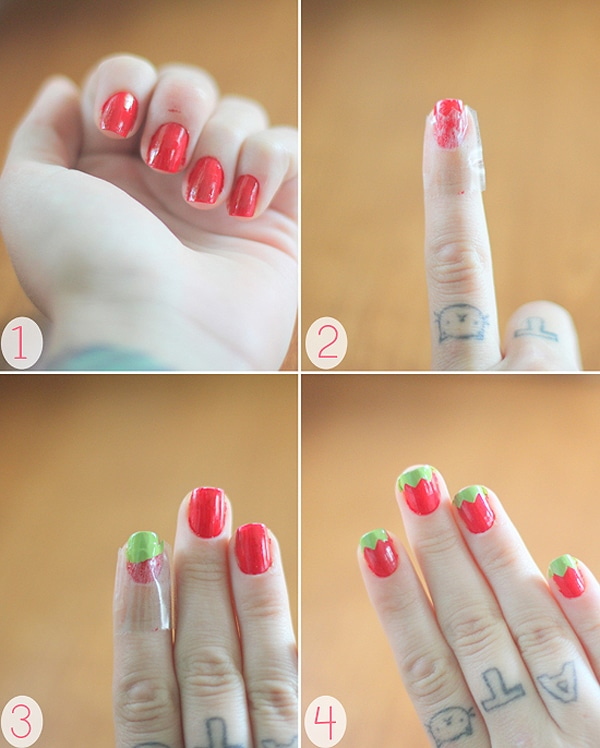 Strawberries Fingernail Polish Manicure