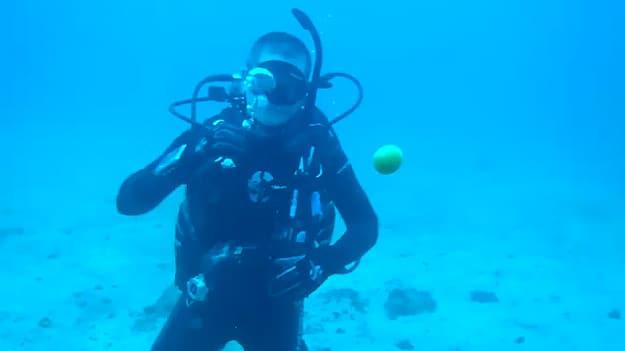 Underwater Egg Trick: Divers Crack Egg Deep In The Ocean