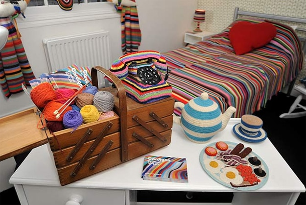 Cozy Vacation: Stay In This Colorfully Crocheted Hotel Room