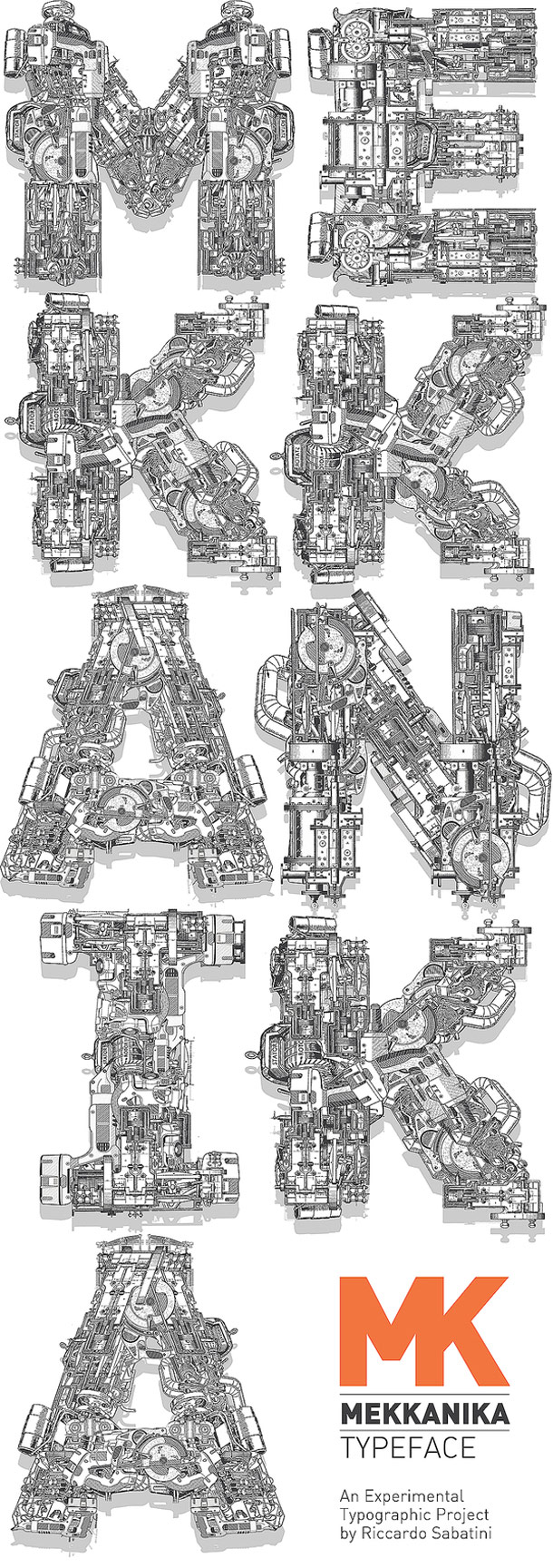 Mekkanika Typeface Font Design Inspiration