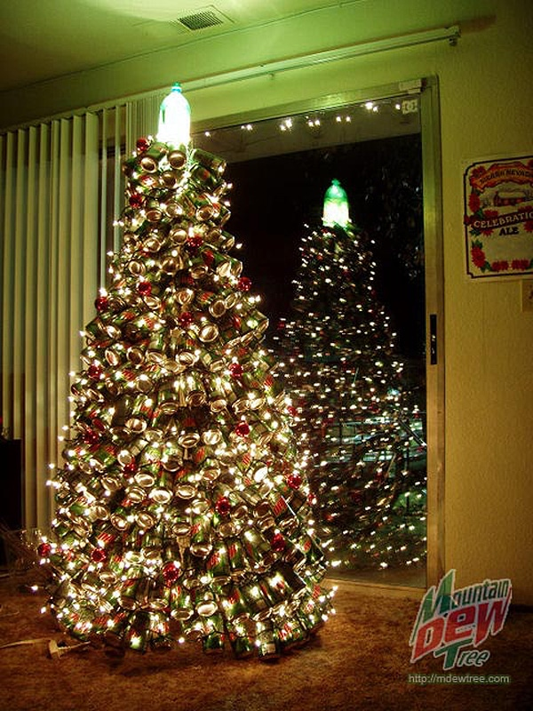 A Holiday Classic: Christmas Tree Made From 400 Mountain Dew Cans