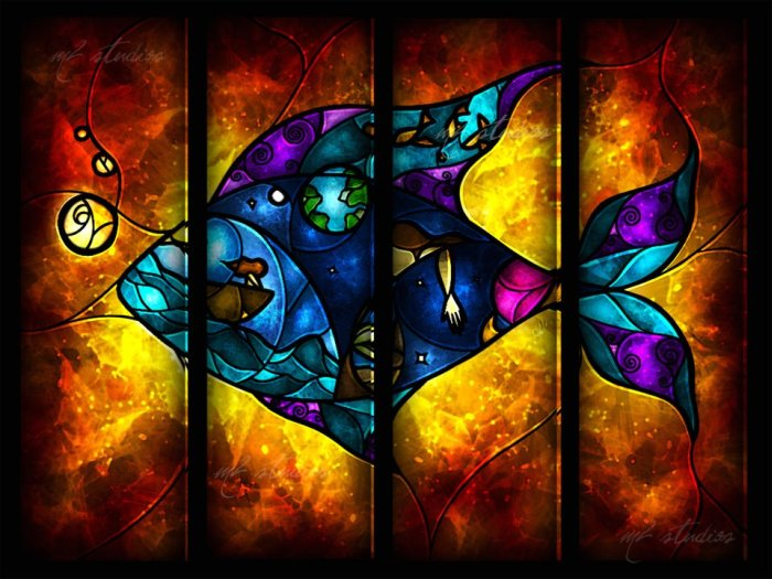 Stained Glass Styled Cartoon Illustrations