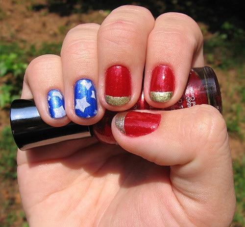 Wonder Woman Nail Polish Manicure