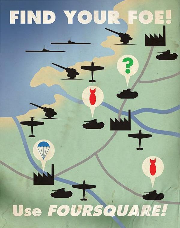 Foursquare Technology Propaganda Illustrations