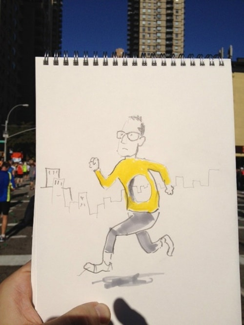 Creative Cartoonist Draws & Live Tweets During NYC Marathon