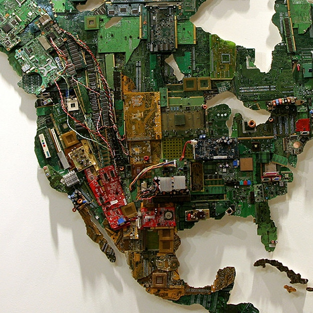 A World Map Created From Recycled Computer Parts
